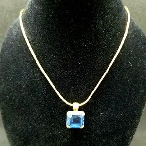 Avon blue square-cut crystal necklace
